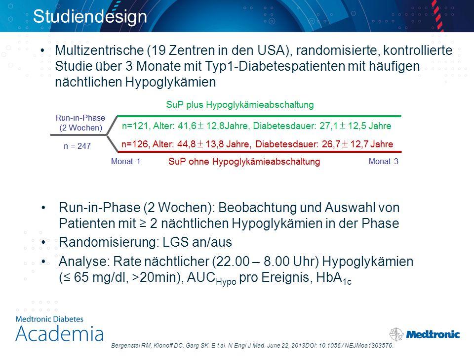 Studiendesign Multizentrische (19 Zentren in den USA), randomisierte, kontrollierte. Studie über 3 Monate mit Typ1-Diabetespatienten mit häufigen.