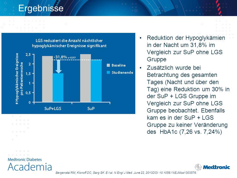 Ergebnisse Reduktion der Hypoglykämien in der Nacht um 31,8% im Vergleich zur SuP ohne LGS Gruppe.