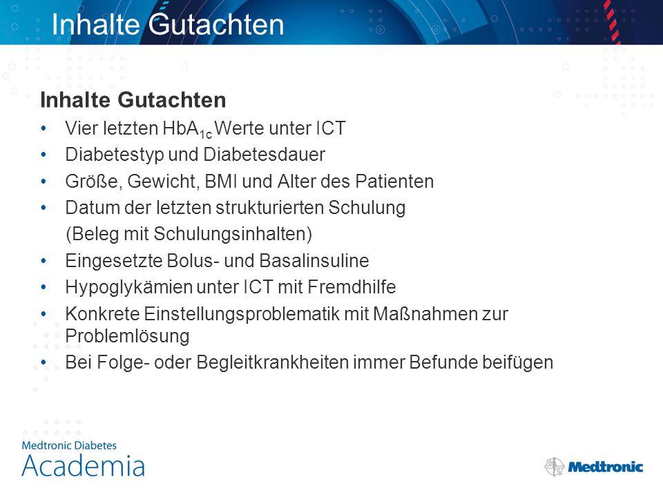 Inhalte Gutachten Inhalte Gutachten Vier letzten HbA1c Werte unter ICT