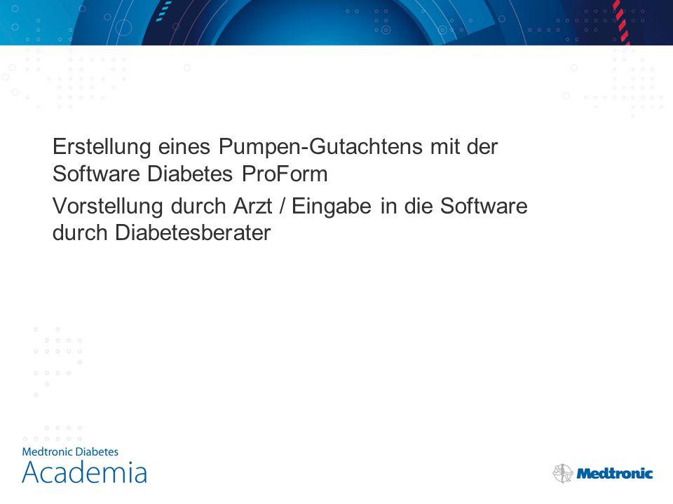 Erstellung eines Pumpen-Gutachtens mit der Software Diabetes ProForm