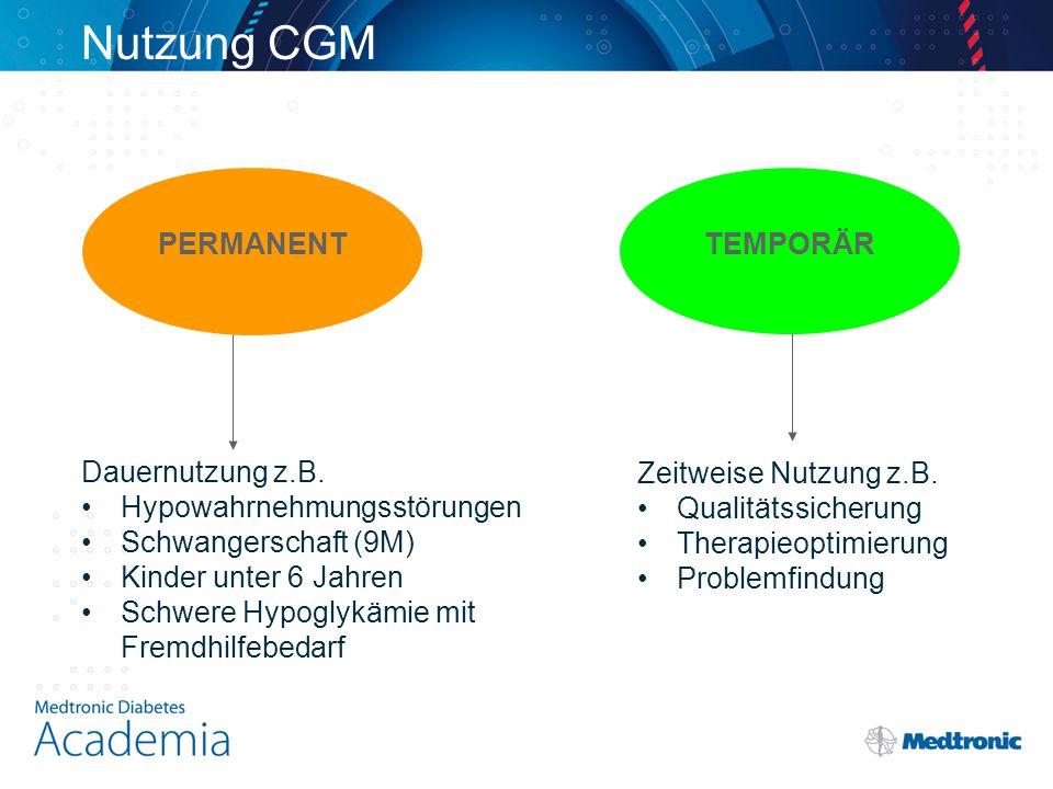 Nutzung CGM PERMANENT TEMPORÄR Dauernutzung z.B.