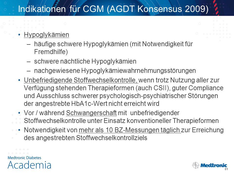 Indikationen für CGM (AGDT Konsensus 2009)