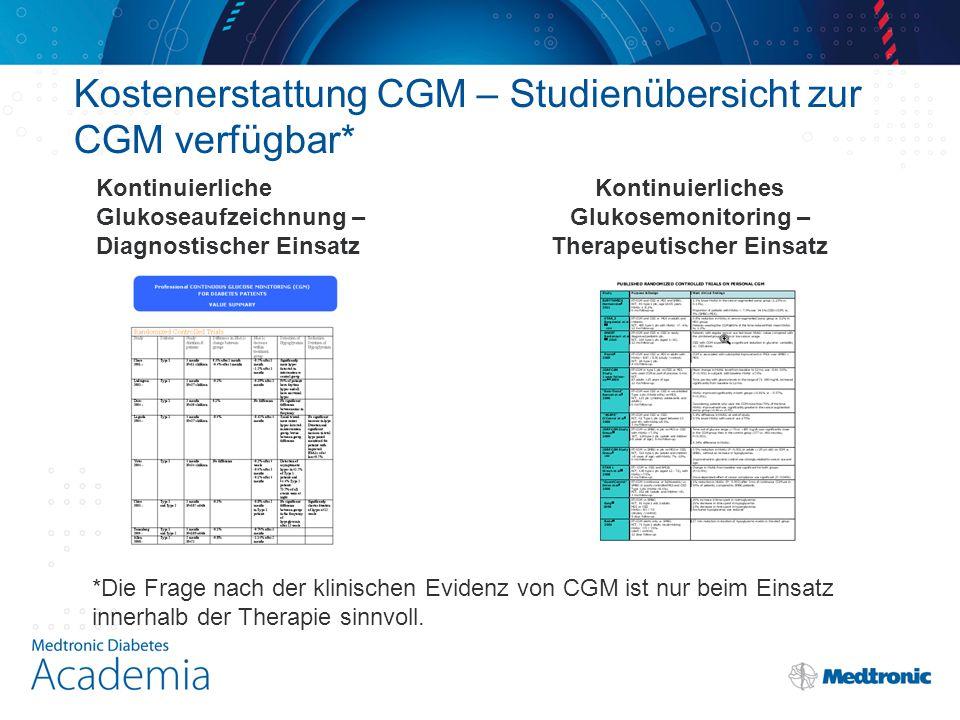 Kostenerstattung CGM – Studienübersicht zur CGM verfügbar*