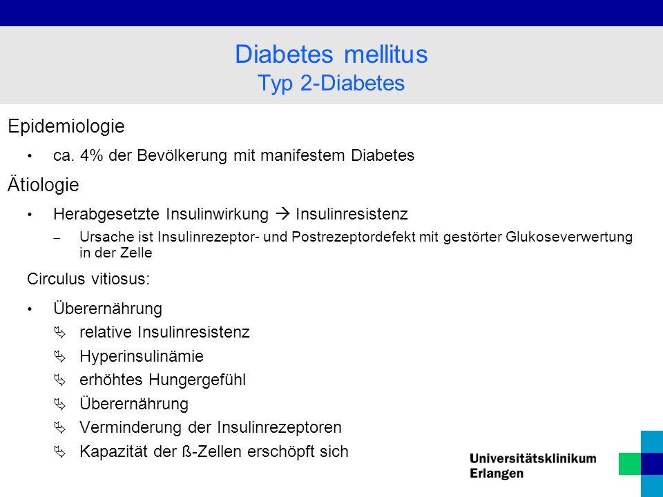 Diabetes mellitus Typ 2-Diabetes Epidemiologie Ätiologie