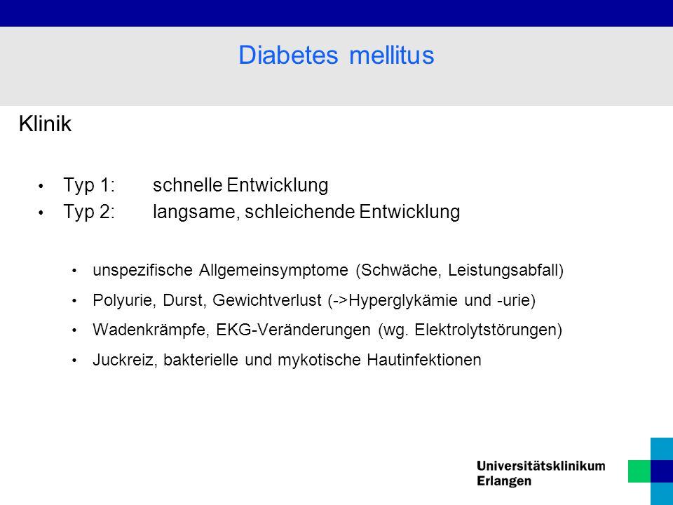 Diabetes mellitus Klinik Typ 1: schnelle Entwicklung
