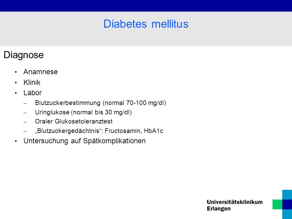 Diabetes mellitus Diagnose Anamnese Klinik Labor
