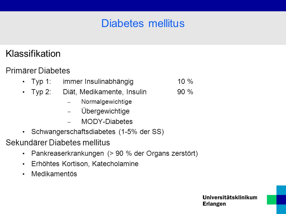 Diabetes mellitus Klassifikation Primärer Diabetes