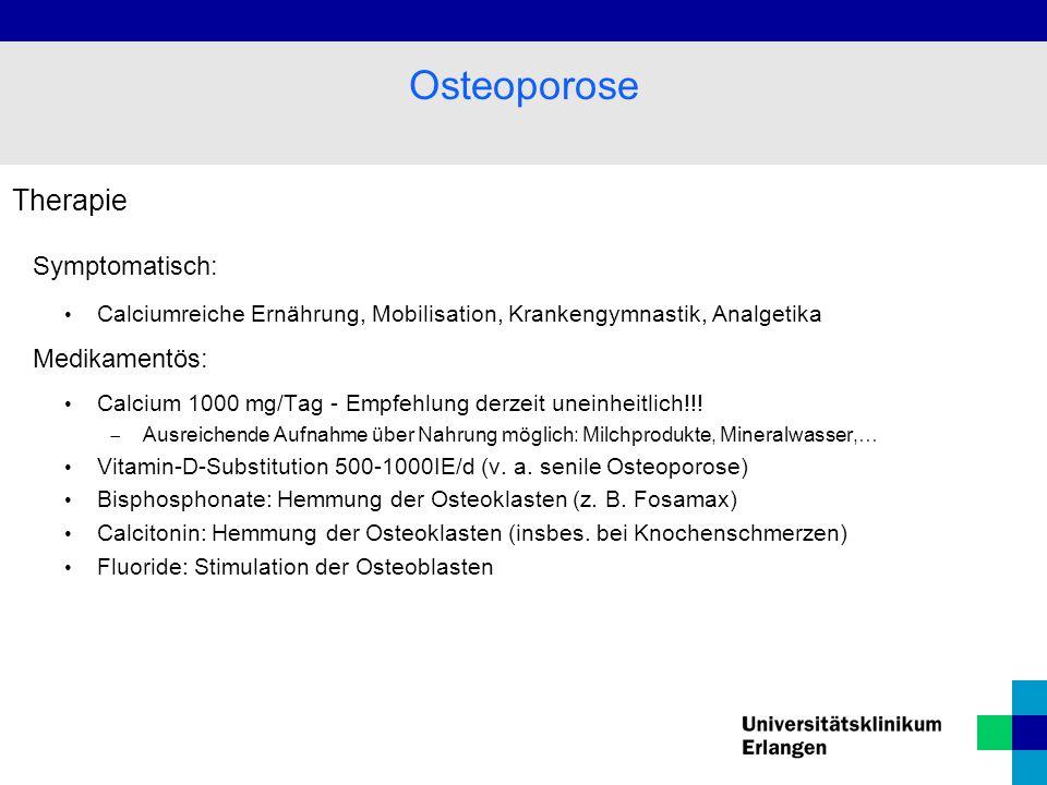 Osteoporose Therapie Symptomatisch: Medikamentös: