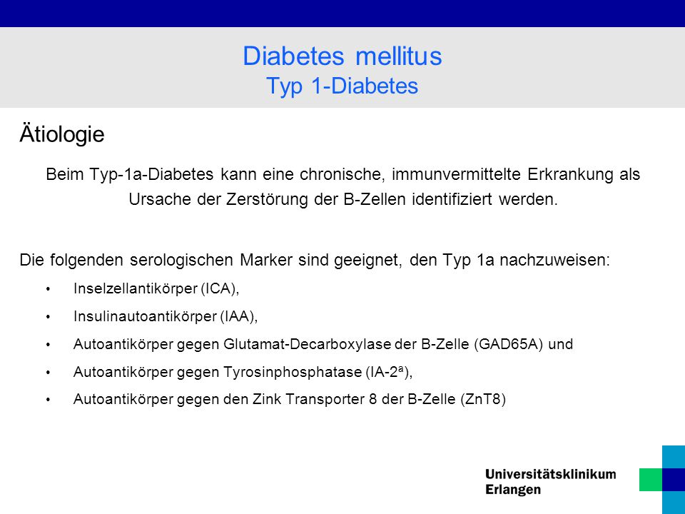 Diabetes mellitus Typ 1-Diabetes Ätiologie