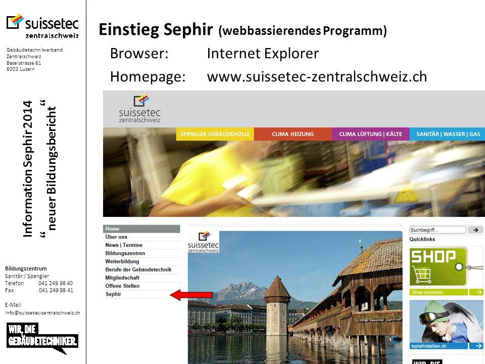Einstieg Sephir (webbassierendes Programm)
