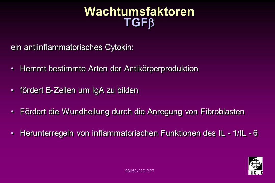 Wachtumsfaktoren TGFb ein antiinflammatorisches Cytokin: