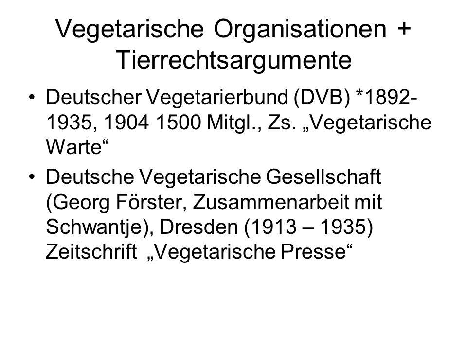 Vegetarische Organisationen + Tierrechtsargumente