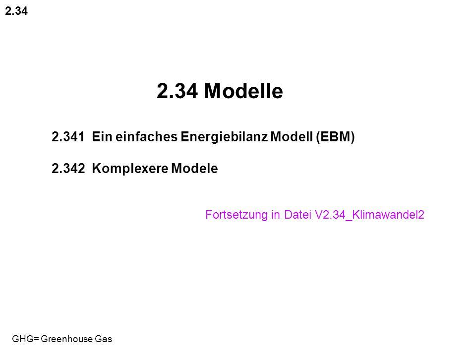 2.34 Modelle 2.341 Ein einfaches Energiebilanz Modell (EBM)