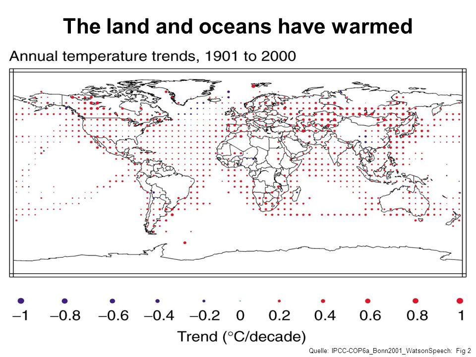 The land and oceans have warmed