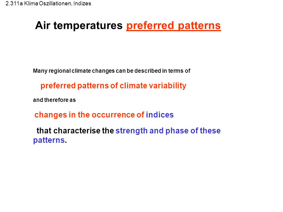 Air temperatures preferred patterns