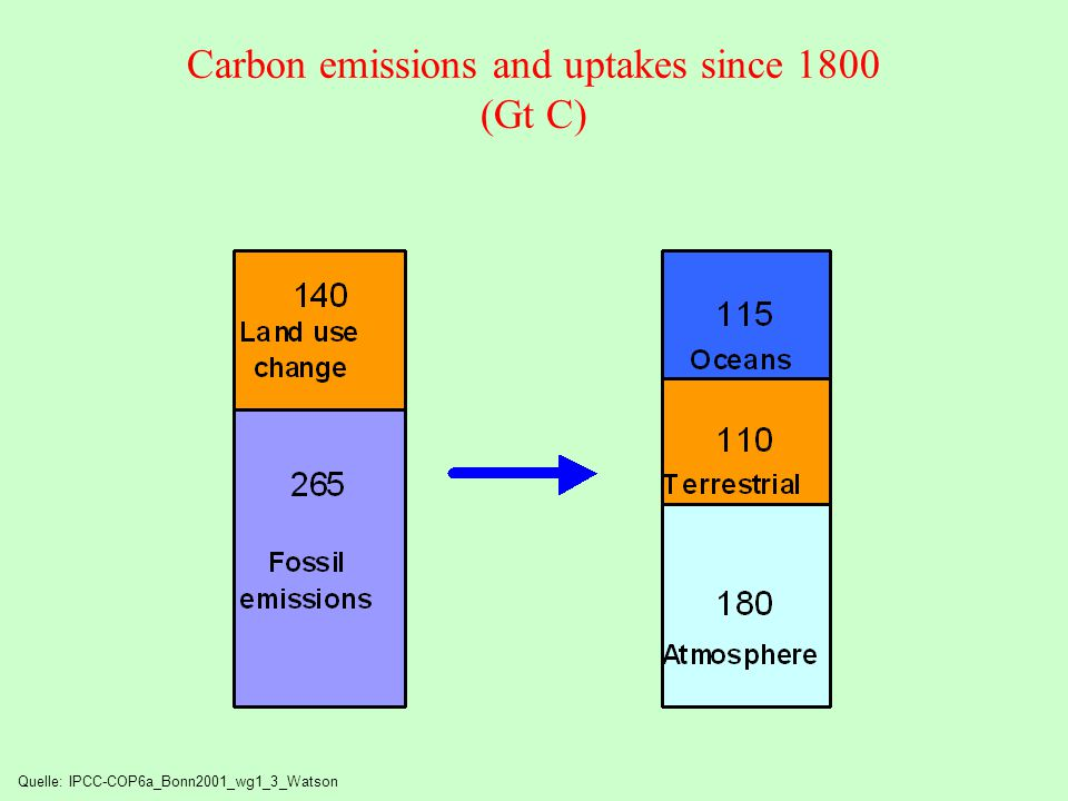 Carbon emissions and uptakes since 1800 (Gt C)