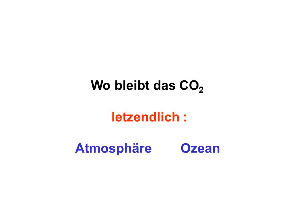 Wo bleibt das CO2 letzendlich : Atmosphäre Ozean