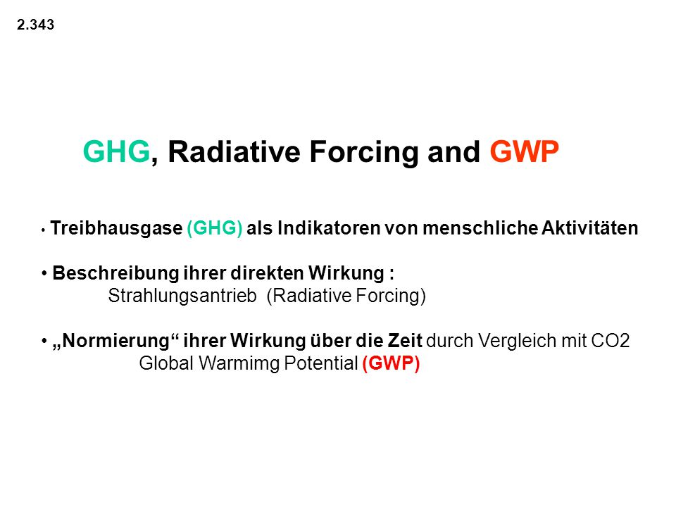 GHG, Radiative Forcing and GWP