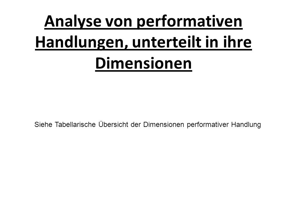Analyse von performativen Handlungen, unterteilt in ihre Dimensionen