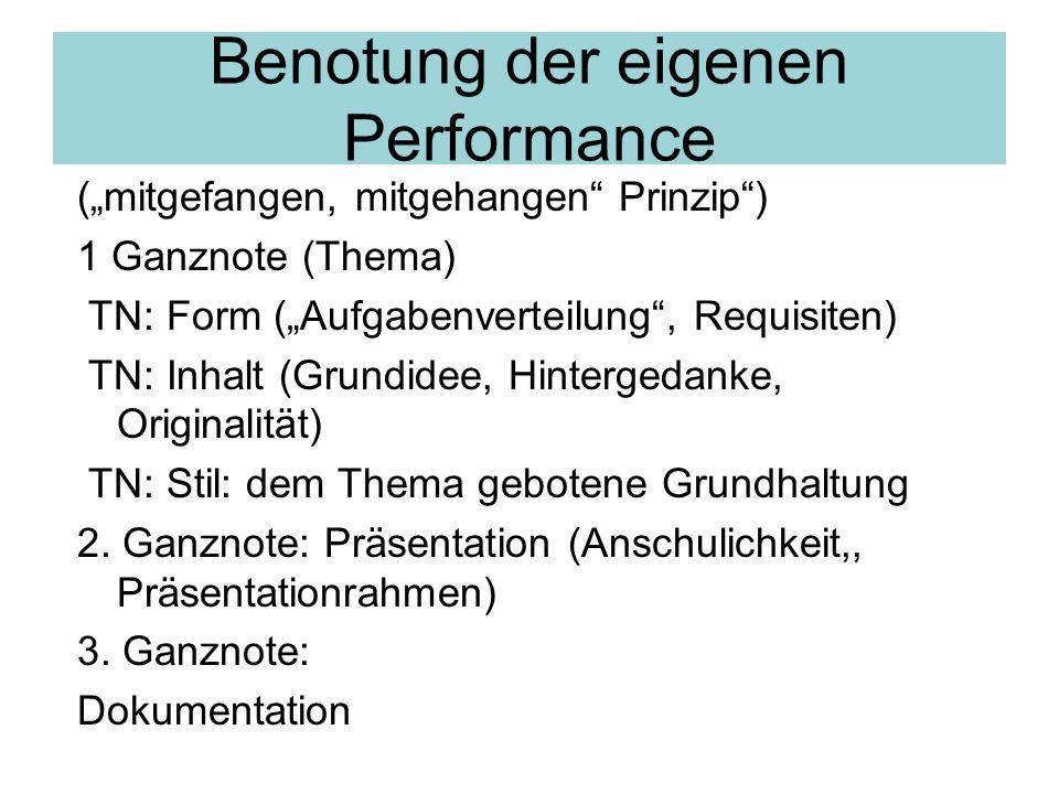 Benotung der eigenen Performance