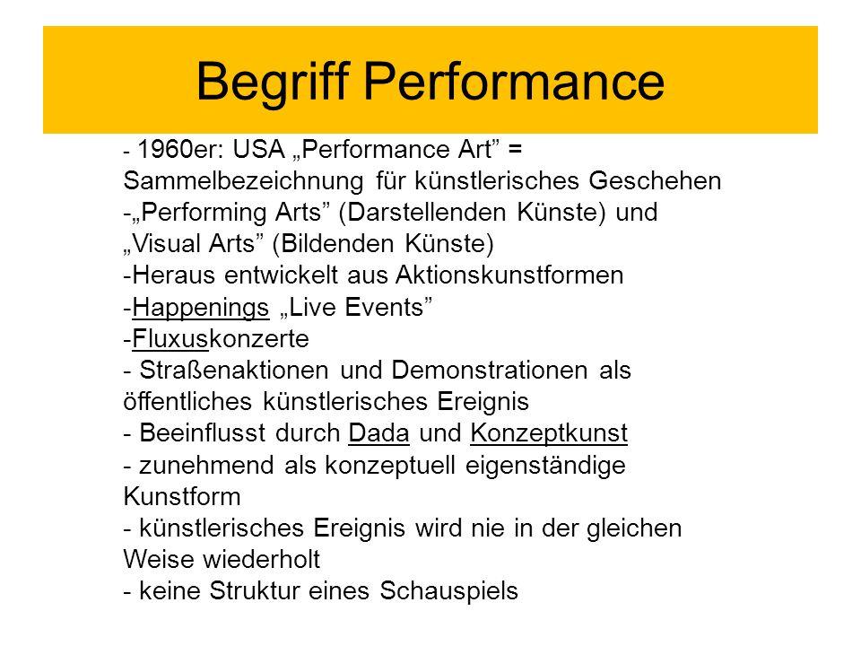 """Begriff Performance - 1960er: USA """"Performance Art = Sammelbezeichnung für künstlerisches Geschehen."""