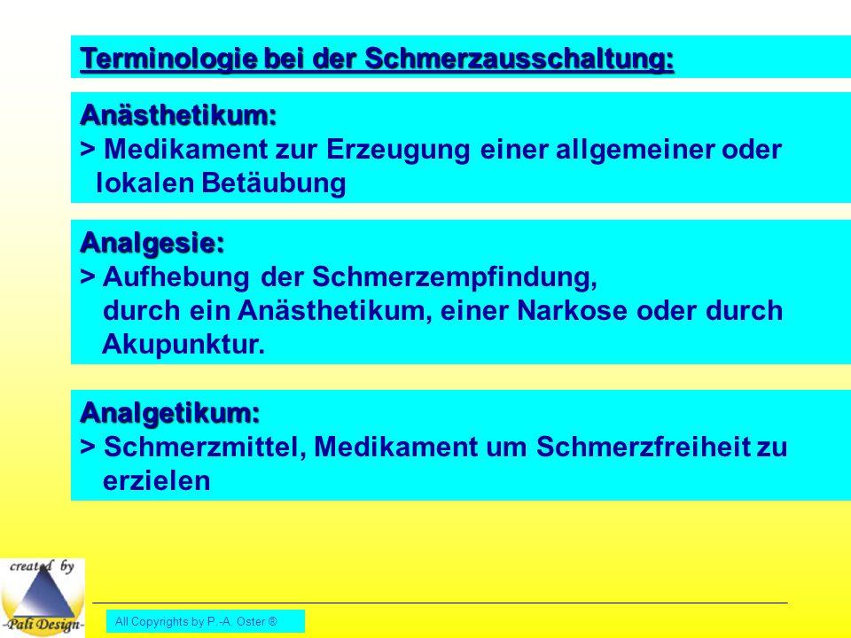 Terminologie bei der Schmerzausschaltung:
