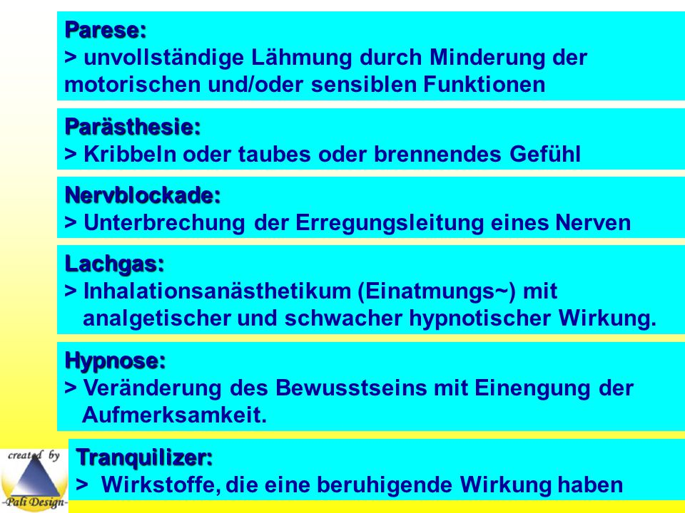 Parese: > unvollständige Lähmung durch Minderung der motorischen und/oder sensiblen Funktionen. Parästhesie: