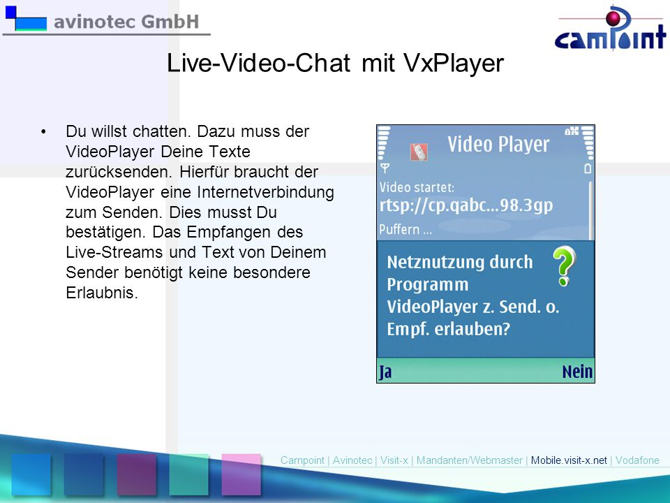 Live-Video-Chat mit VxPlayer