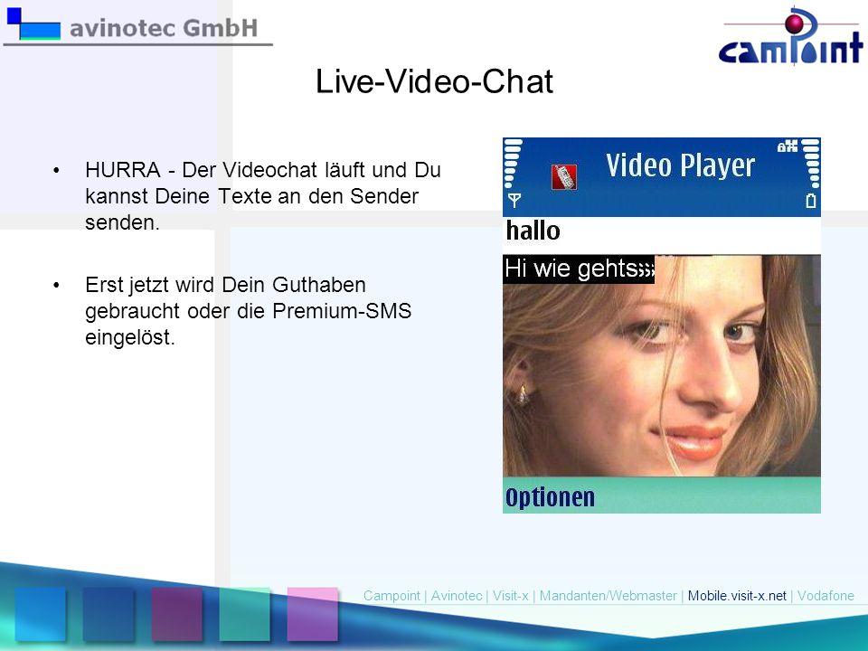 Live-Video-Chat HURRA - Der Videochat läuft und Du kannst Deine Texte an den Sender senden.