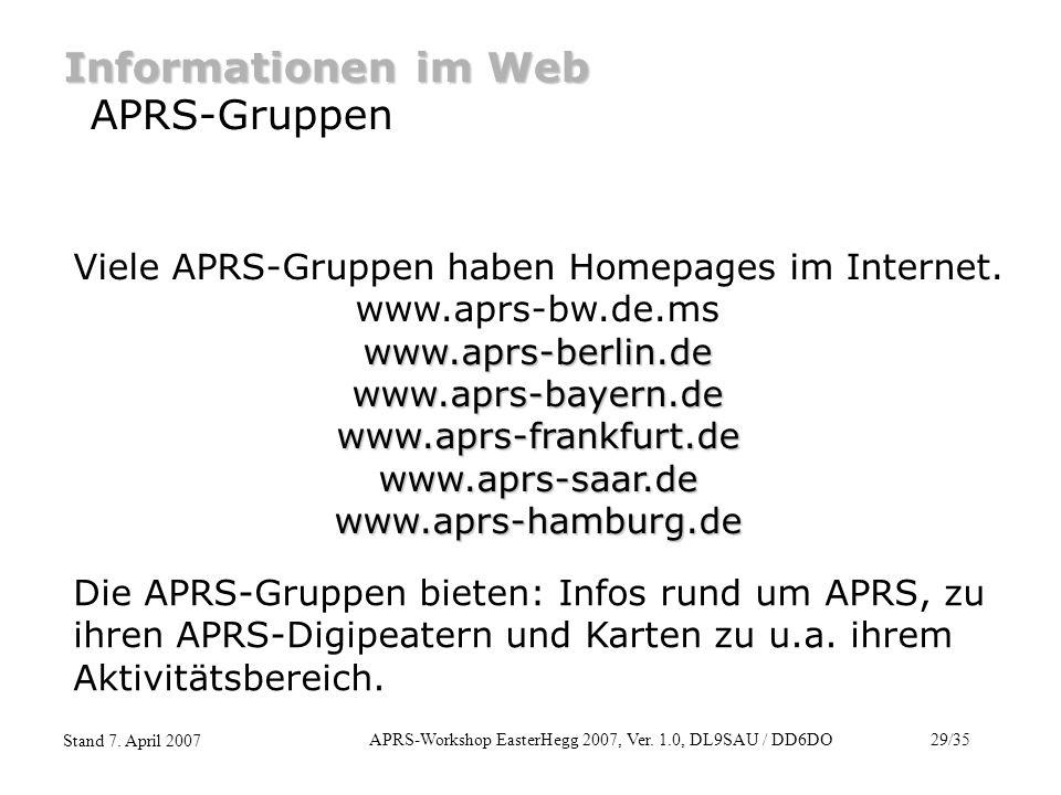 Informationen im Web APRS-Gruppen