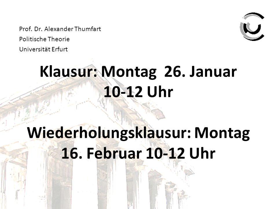 Prof. Dr. Alexander Thumfart Politische Theorie Universität Erfurt