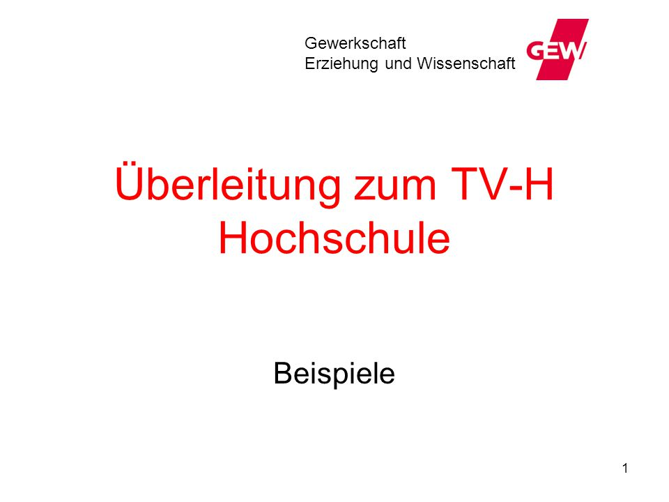 Überleitung zum TV-H Hochschule