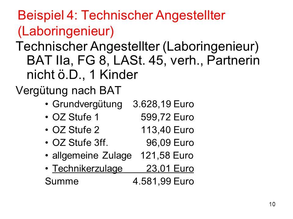 Beispiel 4: Technischer Angestellter (Laboringenieur)