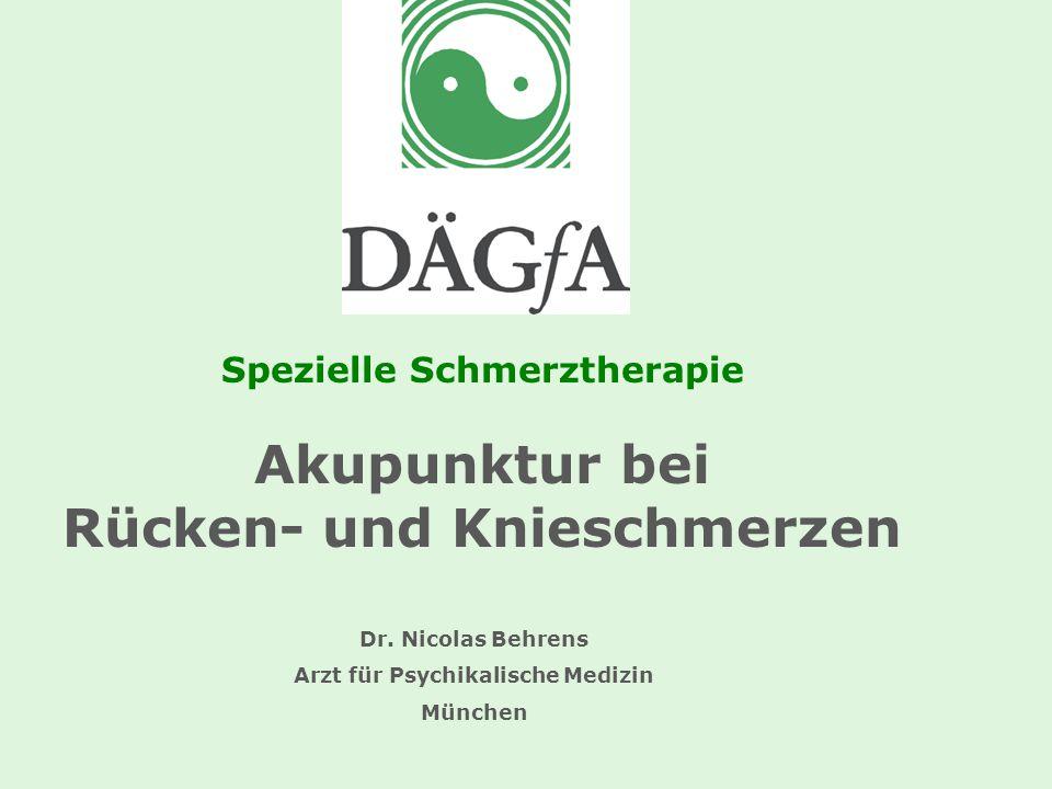 Spezielle Schmerztherapie Akupunktur bei Rücken- und Knieschmerzen