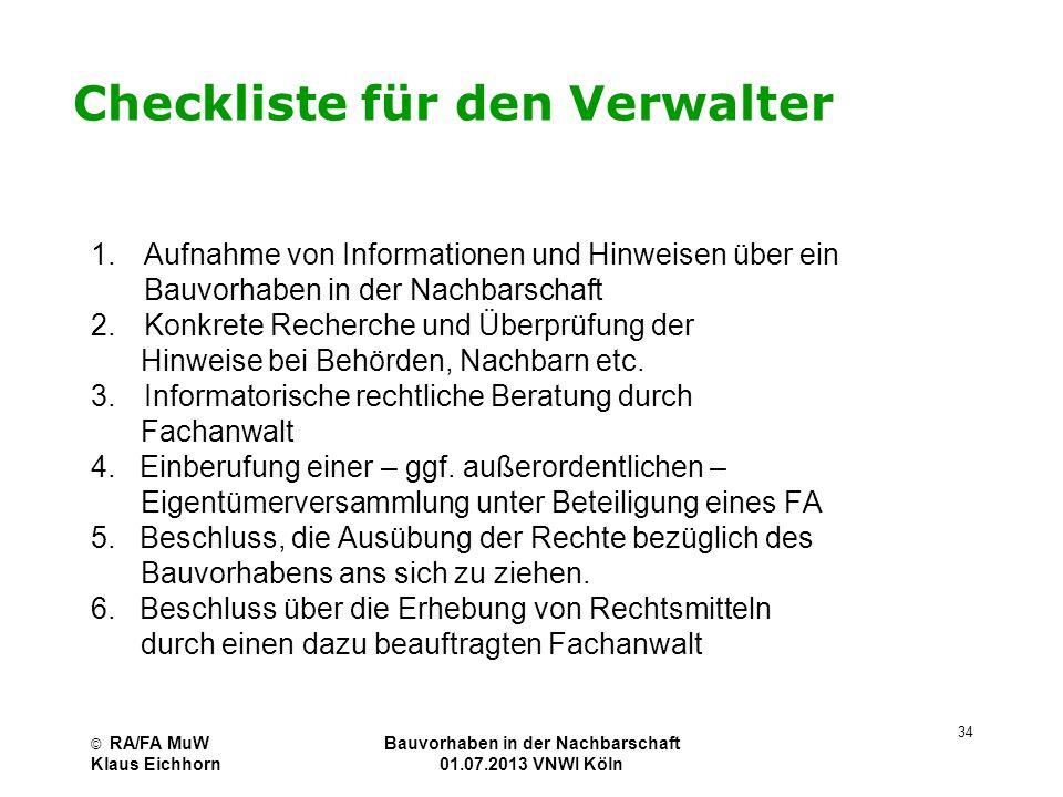 Checkliste für den Verwalter