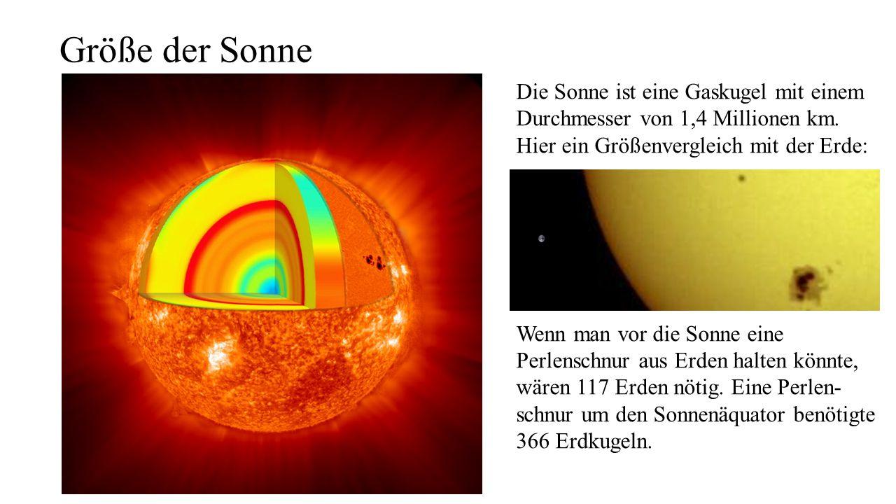 Größe der Sonne Die Sonne ist eine Gaskugel mit einem Durchmesser von 1,4 Millionen km. Hier ein Größenvergleich mit der Erde: