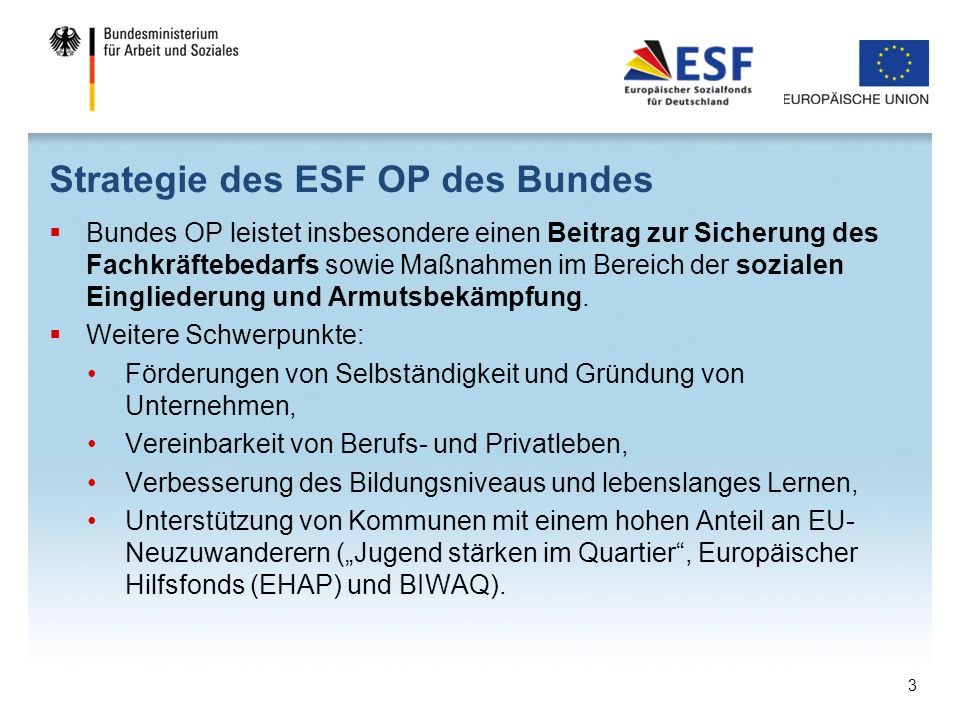 Strategie des ESF OP des Bundes