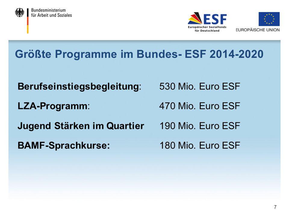 Größte Programme im Bundes- ESF 2014-2020
