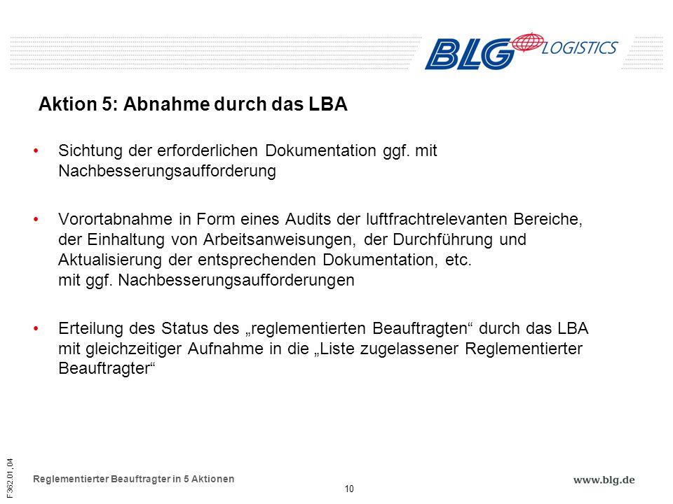 Aktion 5: Abnahme durch das LBA