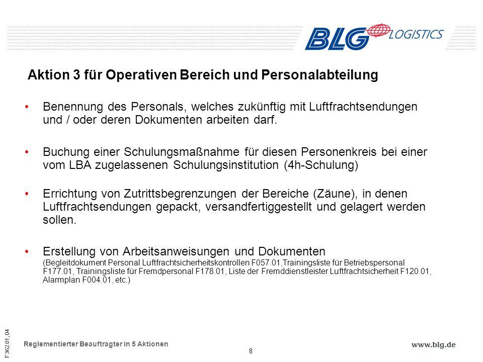 Aktion 3 für Operativen Bereich und Personalabteilung