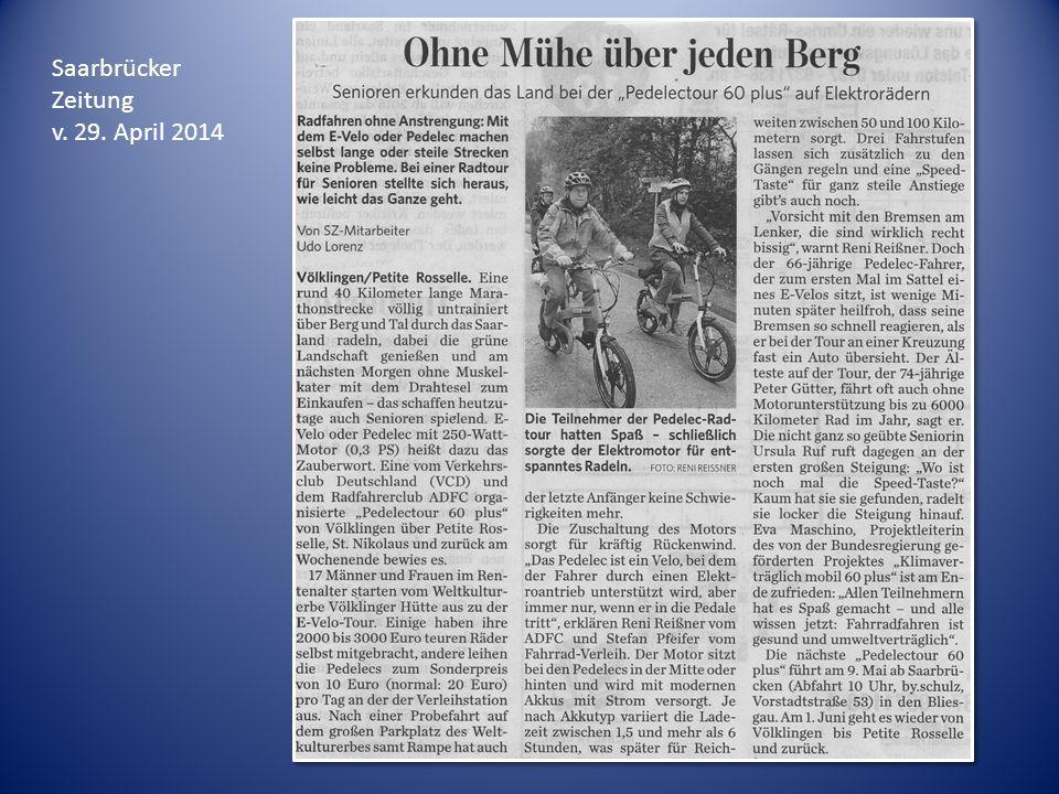 Saarbrücker Zeitung v. 29. April 2014