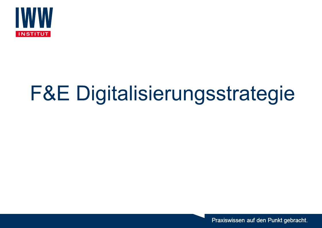 F&E Digitalisierungsstrategie