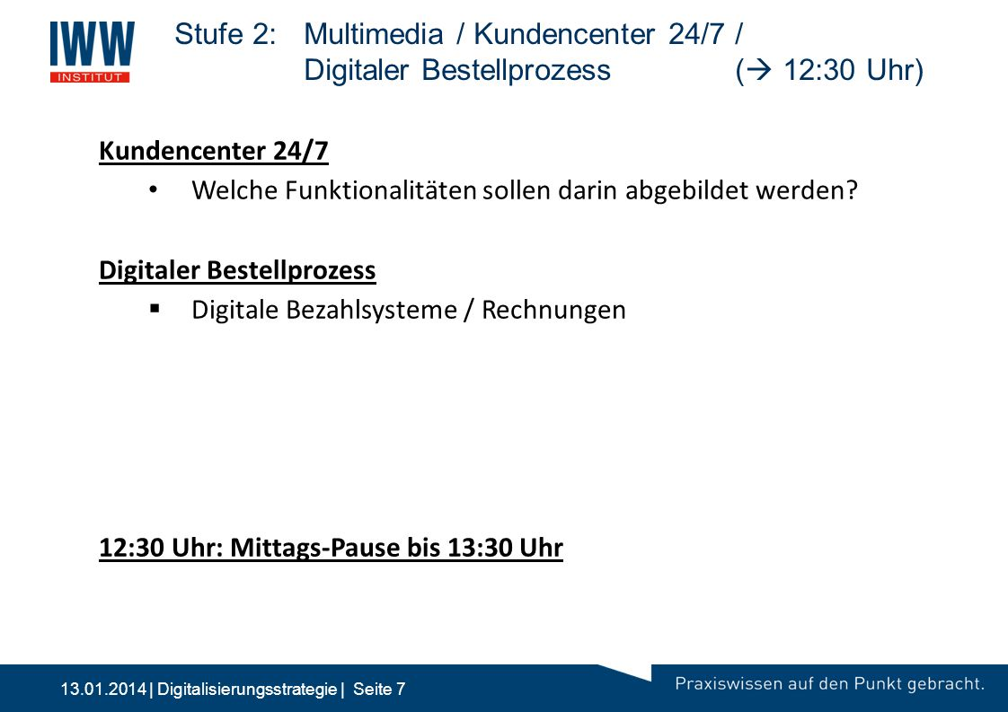 Stufe 2:. Multimedia / Kundencenter 24/7 /. Digitaler Bestellprozess