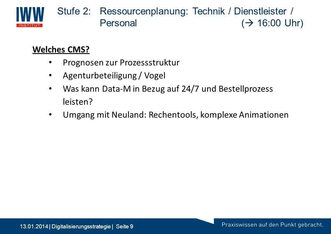 Stufe 2:. Ressourcenplanung: Technik / Dienstleister /. Personal