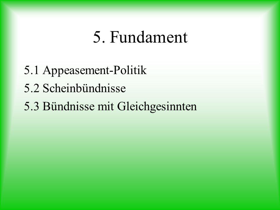 5. Fundament 5.1 Appeasement-Politik 5.2 Scheinbündnisse