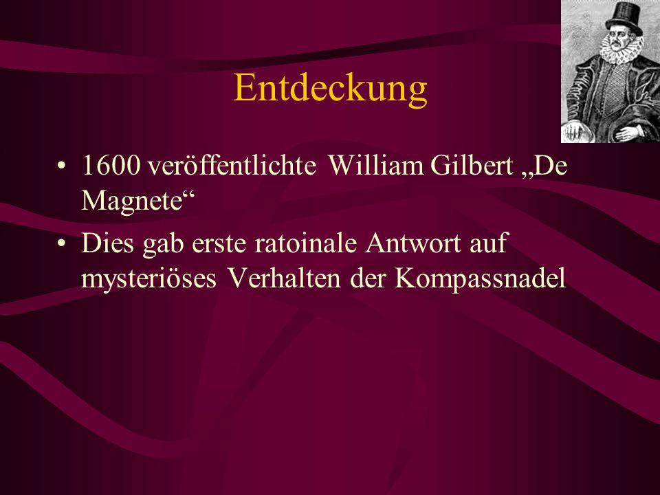 """Entdeckung 1600 veröffentlichte William Gilbert """"De Magnete"""