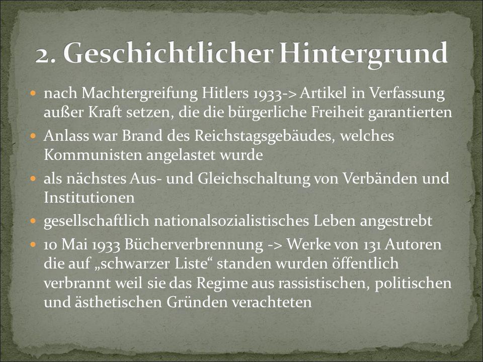 nach Machtergreifung Hitlers 1933-> Artikel in Verfassung außer Kraft setzen, die die bürgerliche Freiheit garantierten