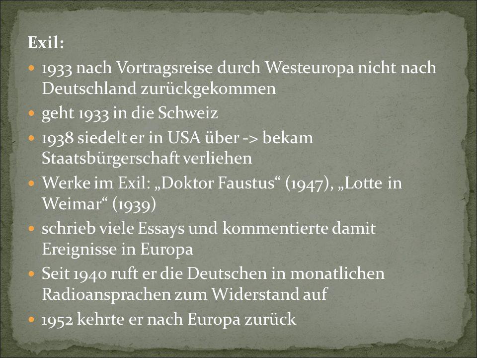 Exil: 1933 nach Vortragsreise durch Westeuropa nicht nach Deutschland zurückgekommen. geht 1933 in die Schweiz.
