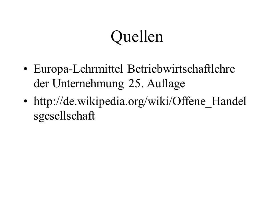 Quellen Europa-Lehrmittel Betriebwirtschaftlehre der Unternehmung 25.
