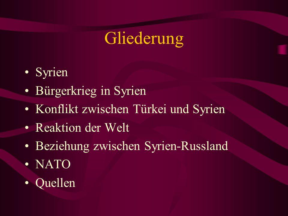 Gliederung Syrien Bürgerkrieg in Syrien